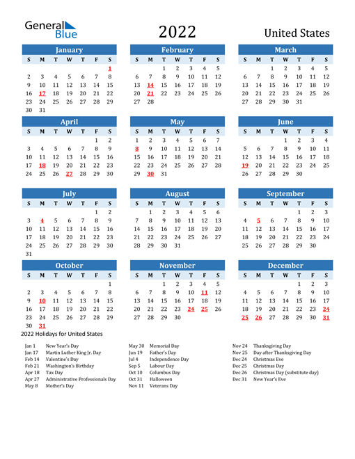 Printable Calendar 2022 with United States Holidays