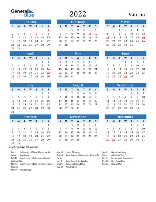 Printable Calendar 2022 with Vatican Holidays