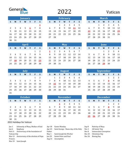 Printable Calendar 2022 with Vatican Holidays