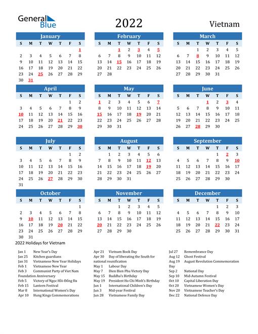 Printable Calendar 2022 with Vietnam Holidays