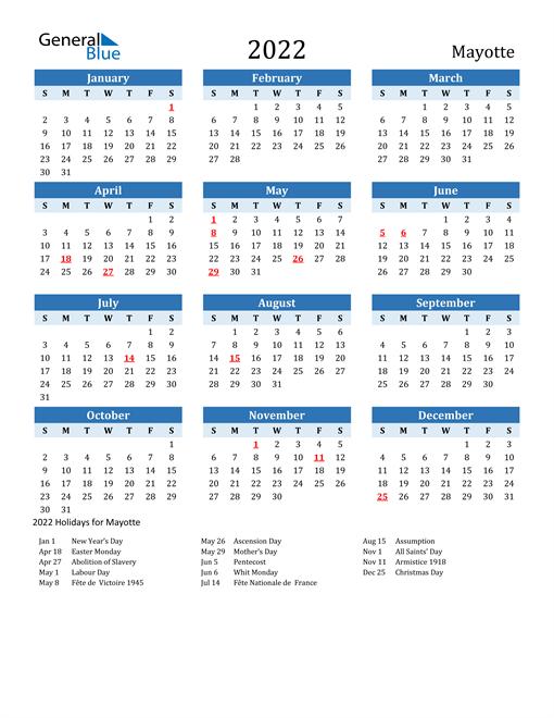 Printable Calendar 2022 with Mayotte Holidays
