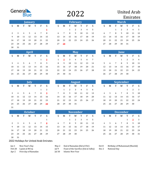 Image of 2022 Calendar - United Arab Emirates with Holidays