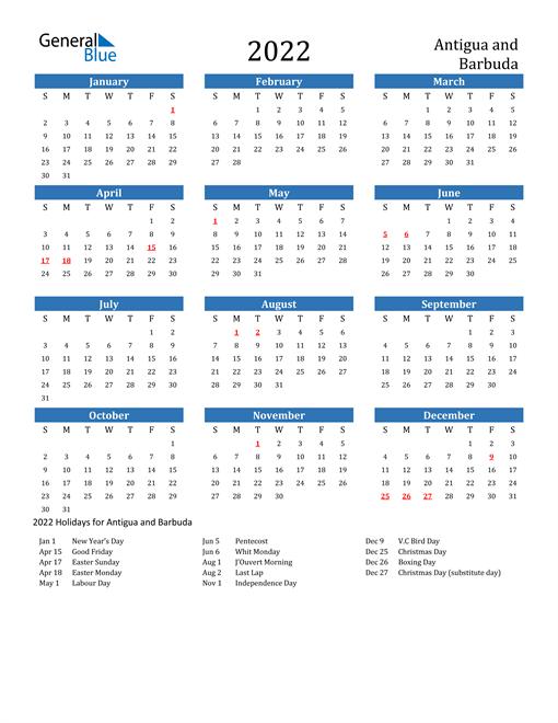 Image of 2022 Calendar - Antigua and Barbuda with Holidays