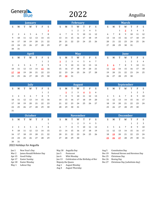 Image of 2022 Calendar - Anguilla with Holidays