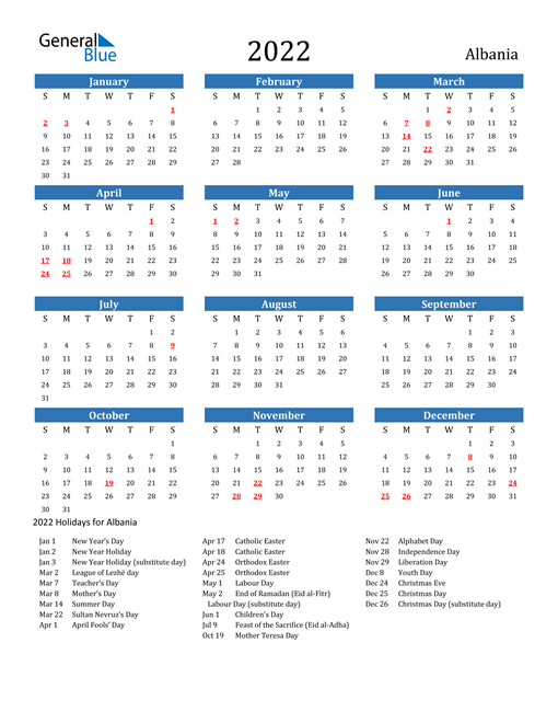 Image of 2022 Calendar - Albania with Holidays