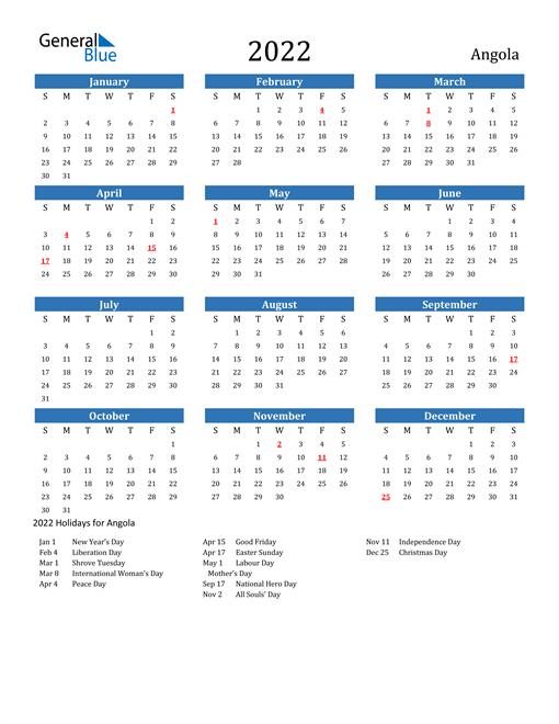 Image of 2022 Calendar - Angola with Holidays