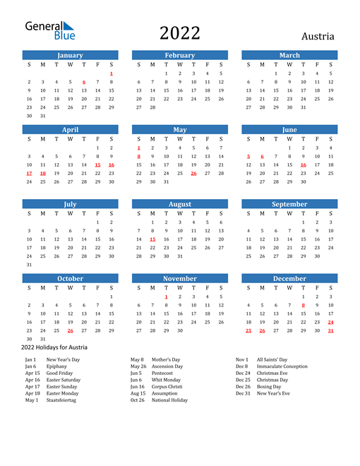 Image of 2022 Calendar - Austria with Holidays