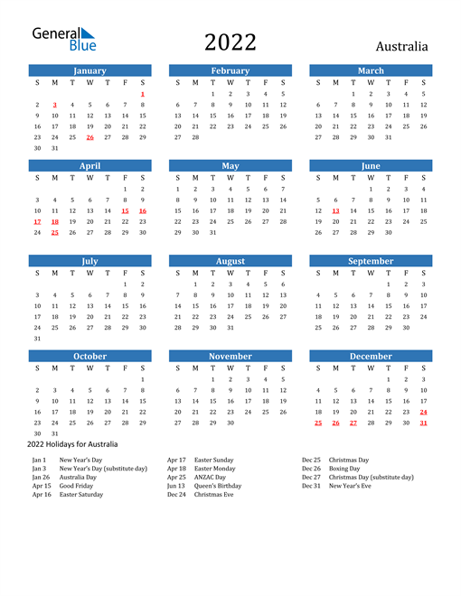 Image of 2022 Calendar - Australia with Holidays