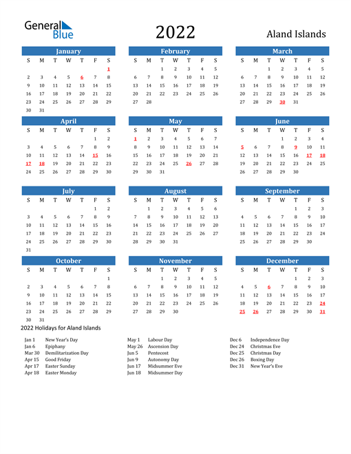 Image of 2022 Calendar - Aland Islands with Holidays