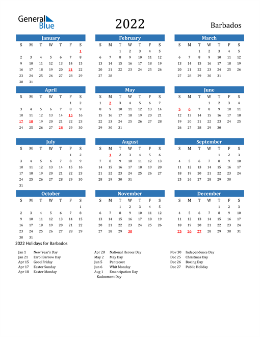 Image of 2022 Calendar - Barbados with Holidays