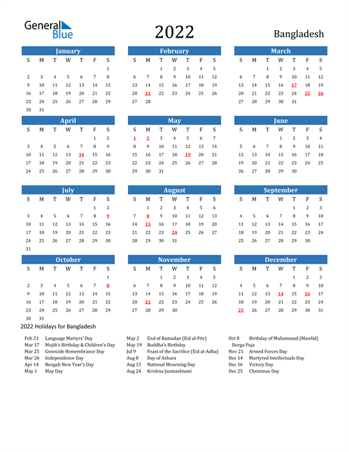Image of 2022 Calendar - Bangladesh with Holidays