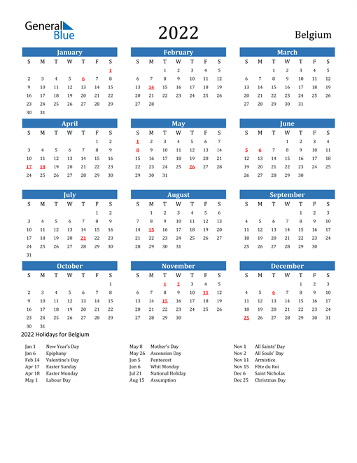 Image of 2022 Calendar - Belgium with Holidays