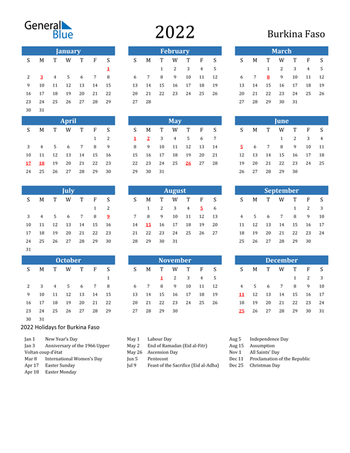 Image of 2022 Calendar - Burkina Faso with Holidays