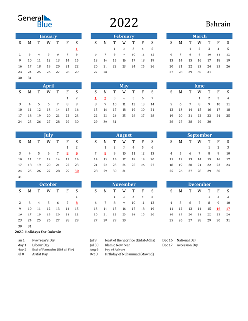 Image of 2022 Calendar - Bahrain with Holidays