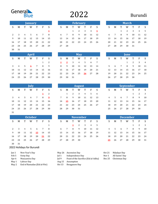 Image of 2022 Calendar - Burundi with Holidays