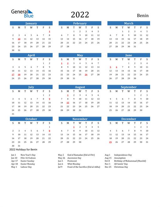 Benin 2022 Calendar with Holidays