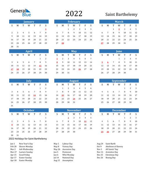 Image of 2022 Calendar - Saint Barthelemy with Holidays