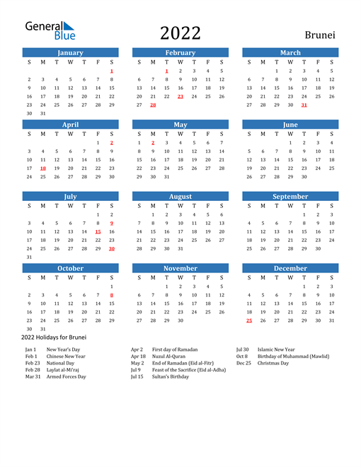 Image of 2022 Calendar - Brunei with Holidays