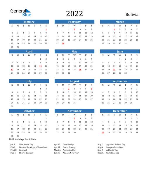 Bolivia 2022 Calendar with Holidays