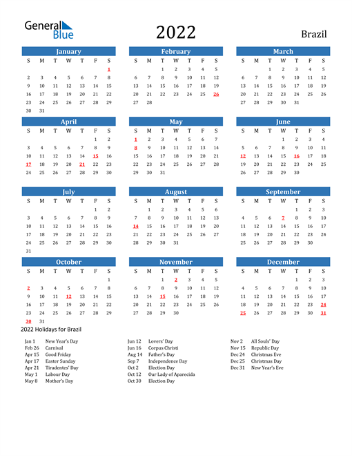 Image of 2022 Calendar - Brazil with Holidays