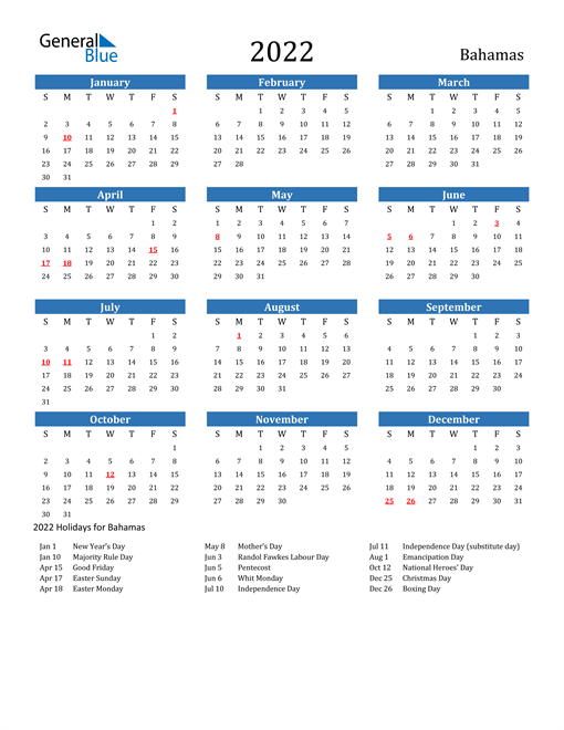 Image of 2022 Calendar - Bahamas with Holidays