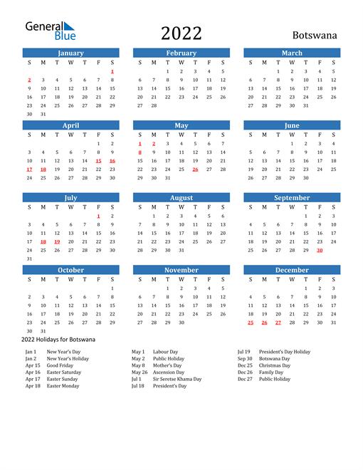 Image of 2022 Calendar - Botswana with Holidays