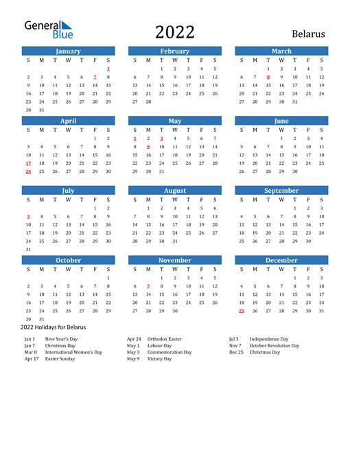 Image of 2022 Calendar - Belarus with Holidays