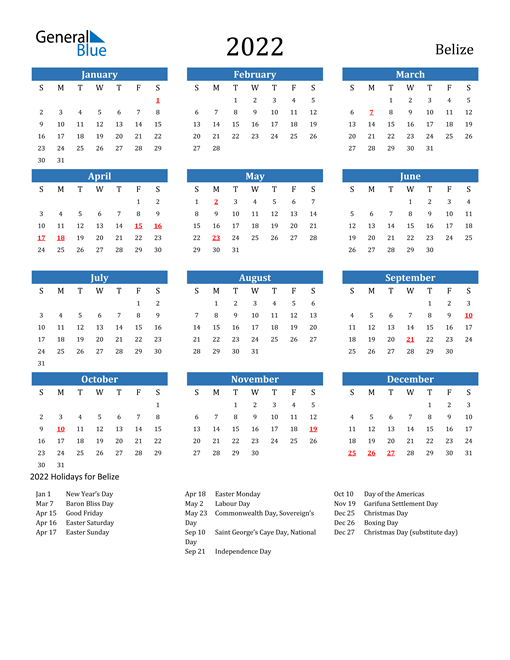 Image of 2022 Calendar - Belize with Holidays