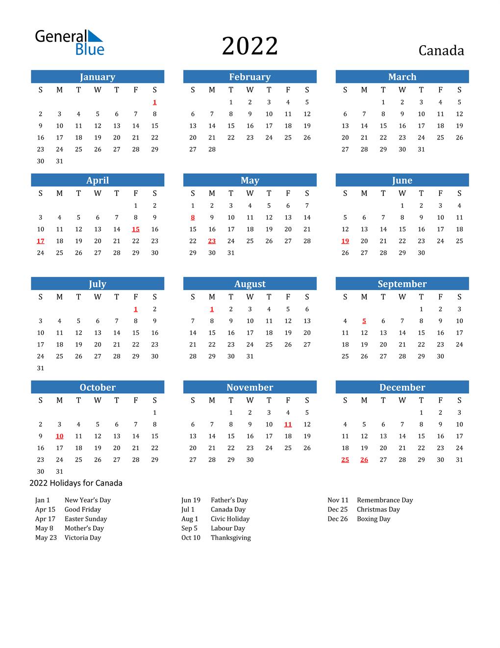 2022 Canada Calendar With Holidays