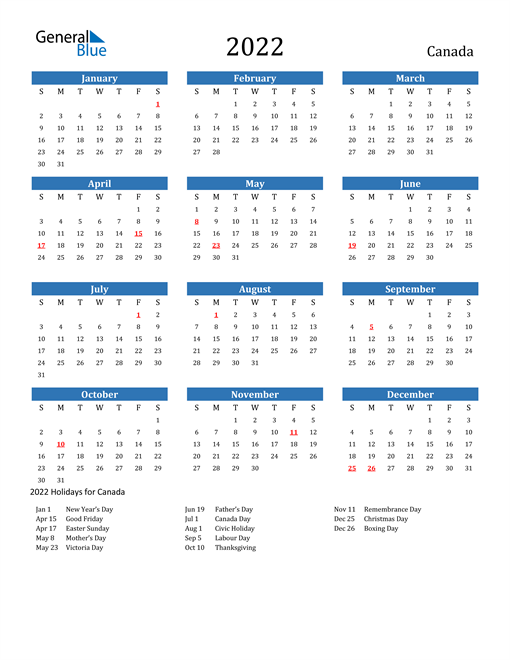 Image of 2022 Calendar - Canada with Holidays