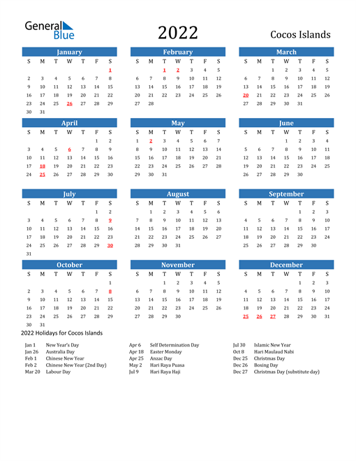 Image of 2022 Calendar - Cocos Islands with Holidays