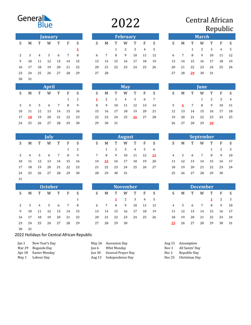 Image of 2022 Calendar - Central African Republic with Holidays