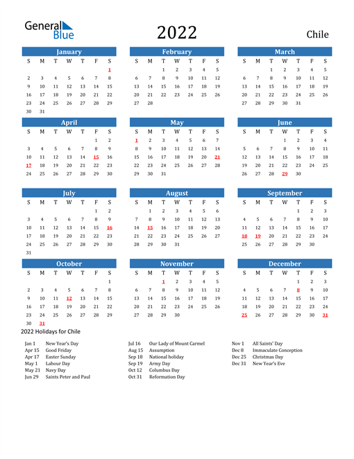 Image of 2022 Calendar - Chile with Holidays