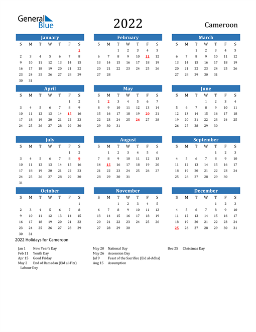 Image of 2022 Calendar - Cameroon with Holidays