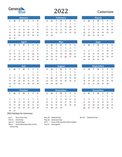 Cameroon 2022 Calendar with Holidays
