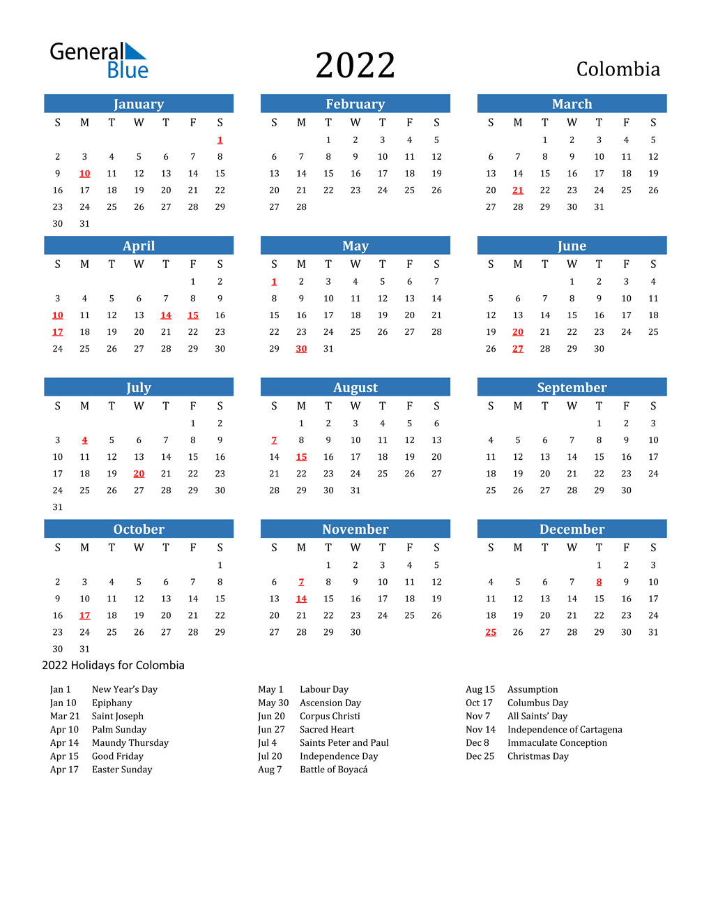 2022 Calendar With All Holidays.2022 Colombia Calendar With Holidays