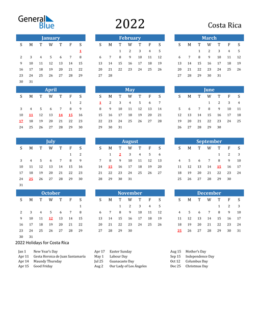 Image of 2022 Calendar - Costa Rica with Holidays