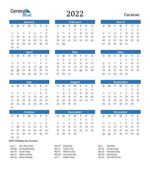 Image of 2022 Calendar - Curacao with Holidays