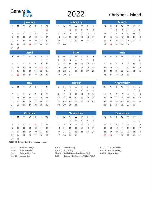 2022 Calendar with Christmas Island Holidays