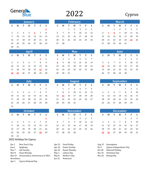 Image of 2022 Calendar - Cyprus with Holidays