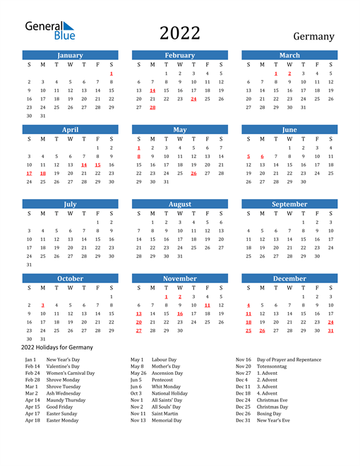 Image of 2022 Calendar - Germany with Holidays