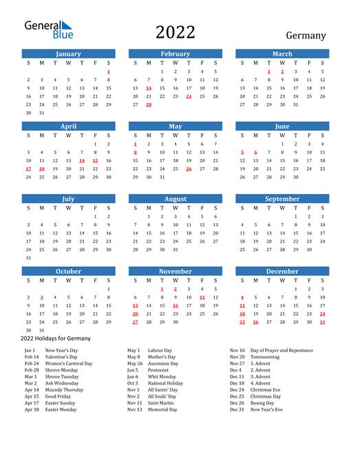 Germany 2022 Calendar with Holidays