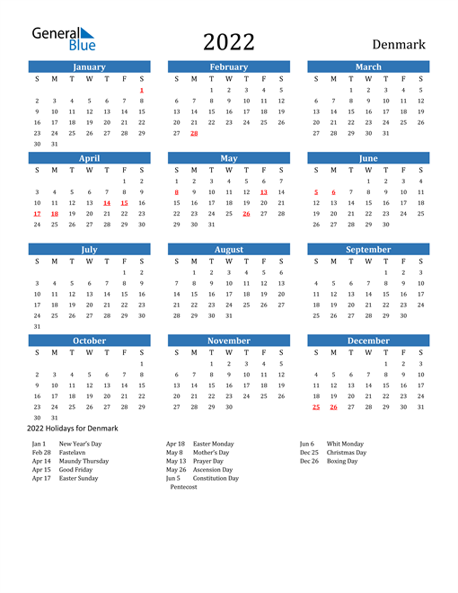 Image of 2022 Calendar - Denmark with Holidays
