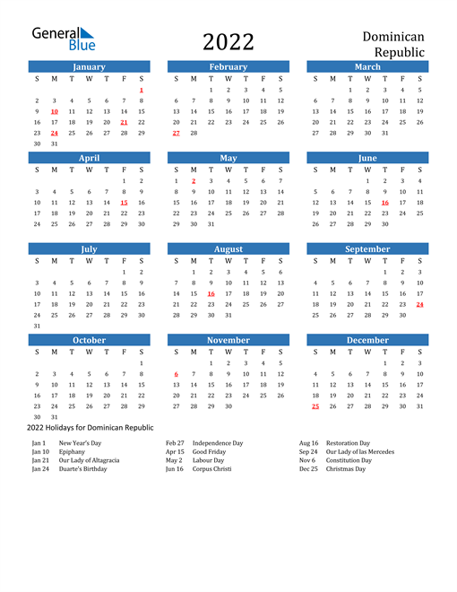 Image of 2022 Calendar - Dominican Republic with Holidays