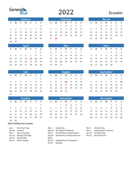 Image of 2022 Calendar - Ecuador with Holidays