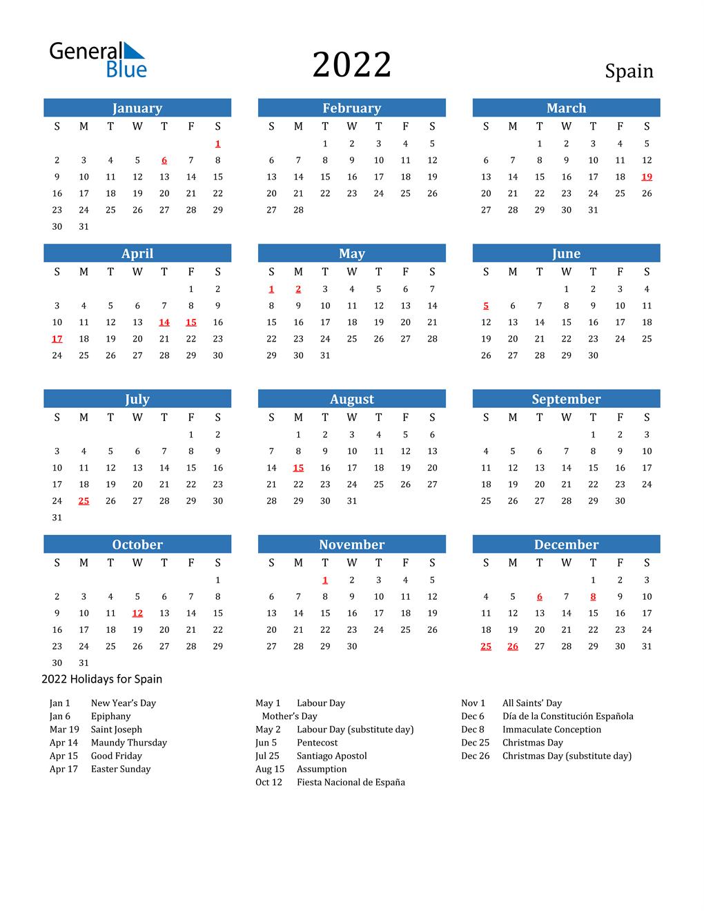 Spanish Calendar 2022.2022 Spain Calendar With Holidays
