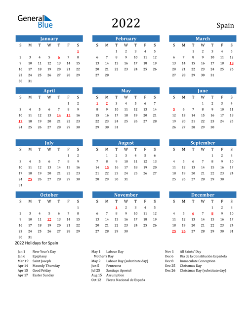 Image of 2022 Calendar - Spain with Holidays