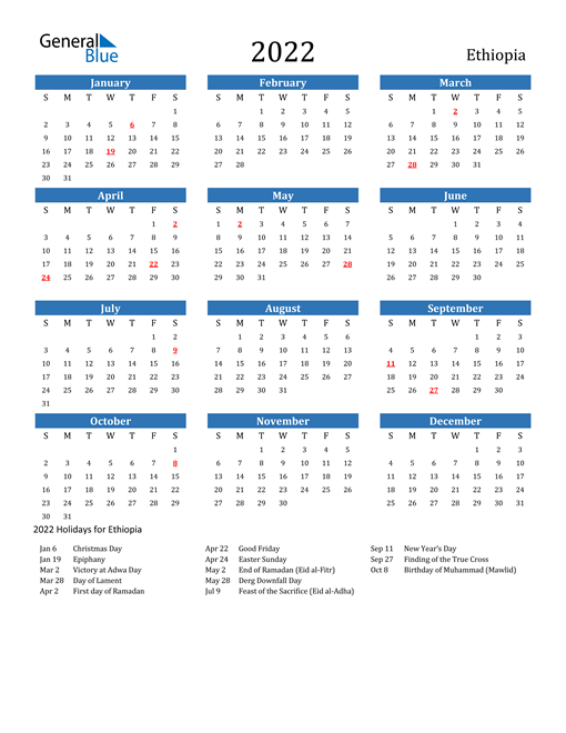 Image of 2022 Calendar - Ethiopia with Holidays