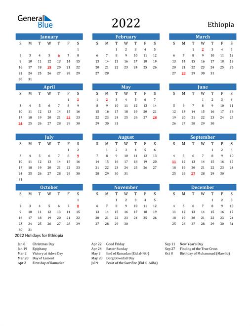 Ethiopian Calendar 2022.Ethiopia Calendars With Holidays