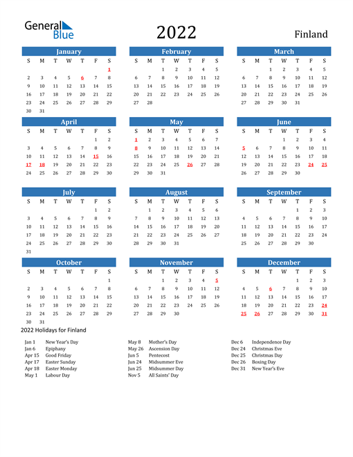 Image of 2022 Calendar - Finland with Holidays